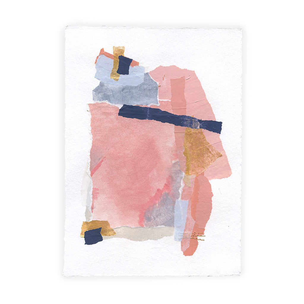 mixed media collage on white paper with pink, gold, salmon, navy. shown on a white background. approximate size is 6x8""
