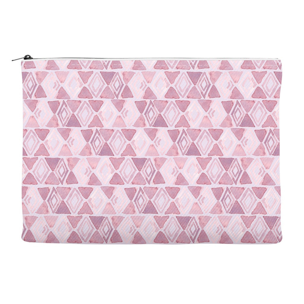 zipper accessory bag with pink diamond print