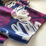 navy blue purple and white womens silk crepe scarf detail