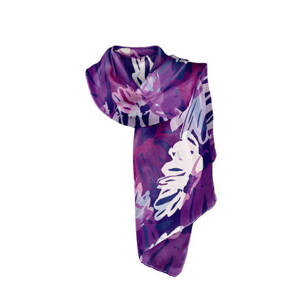 navy blue purple and white womens silk crepe scarf show tied