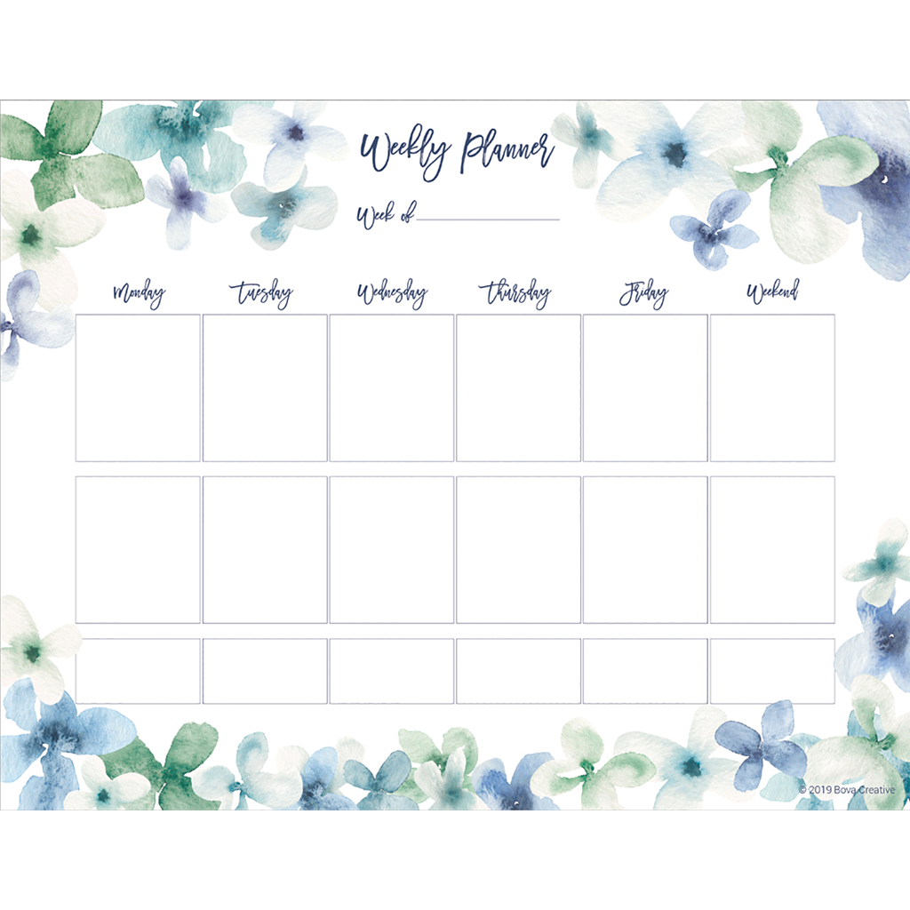 Watercolor Floral Weekly Planner Pad