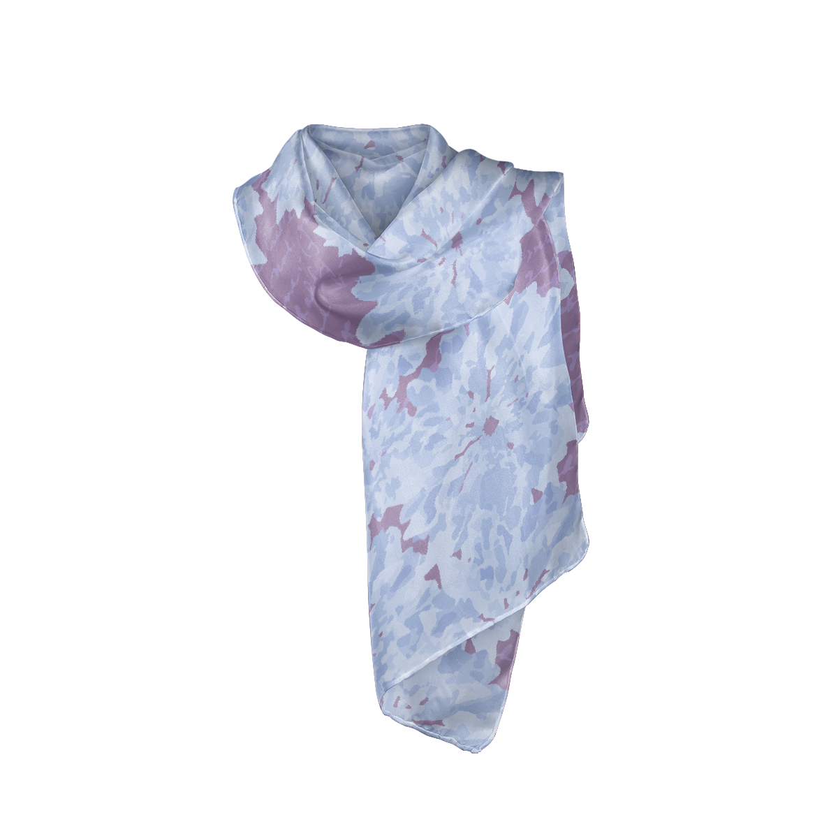 Light blue and purple silk crepe scarf show as it would be tied around neck