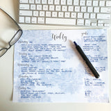 Weekly notepad blue on white example of how to use