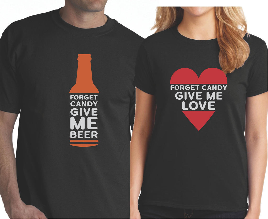 61d7749d0 Funny Halloween Couple Shirts - Forget Candy Give Me Beer and Love - Our T  Shirt