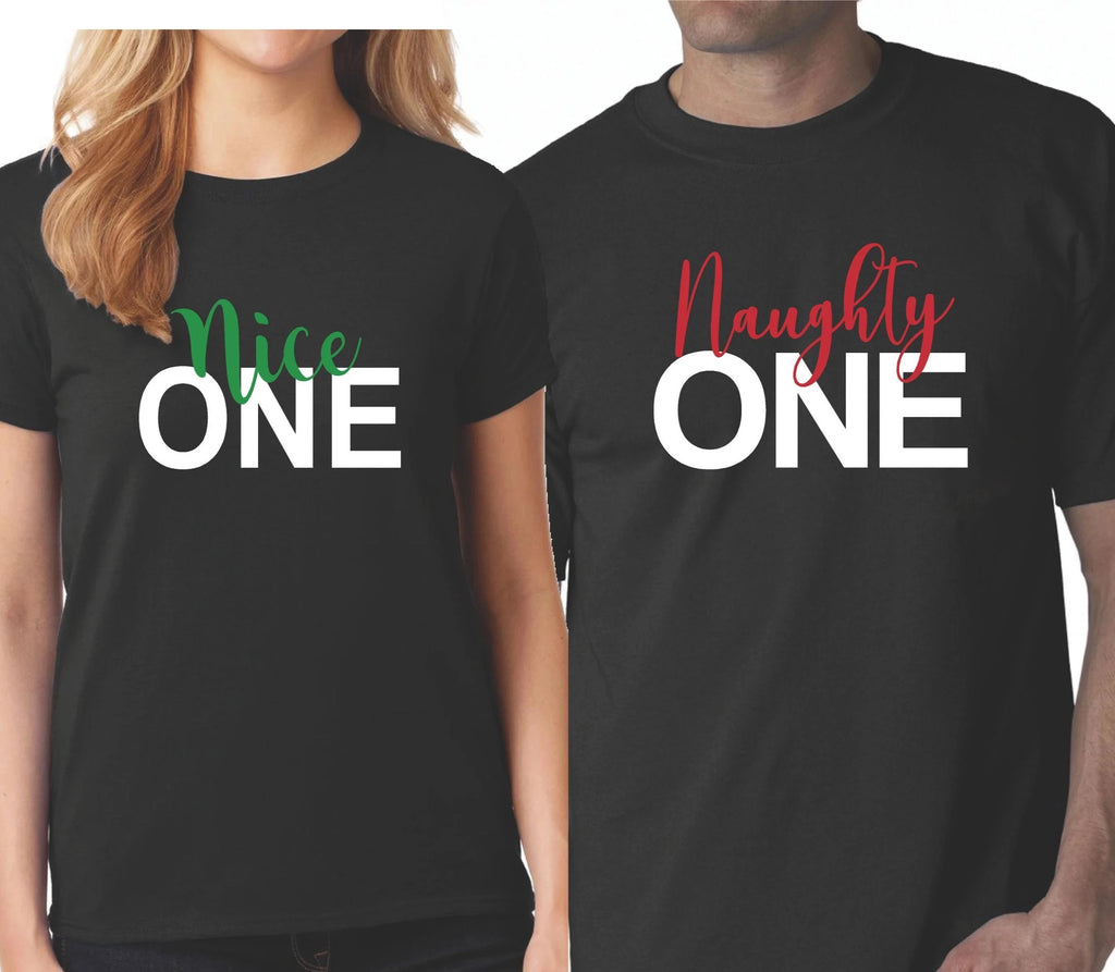 48aa82415 Funny Christmas Shirts, Matching Couples Naughty Nice Unisex Black - Our T  Shirt Shack