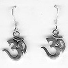 Om Dangle Earrings - Sterling Silver - Small