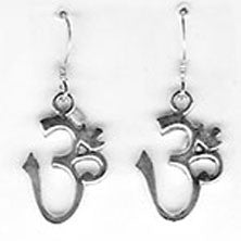 Om Dangle Earrings - Sterling Silver - Large