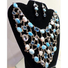 Larimar Pearl Necklace w/Earrings