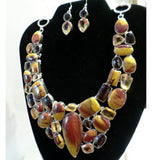 Moukaite Citrine Necklace w/Earrings