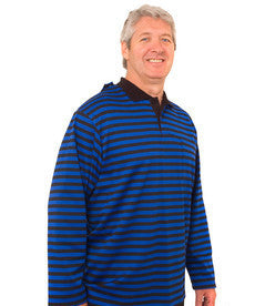 Adaptive Polo Shirt For Men - Long Sleeve Open Back Shirt - Disabled Adults
