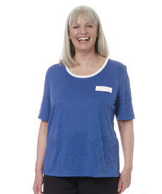 Womens Adaptive Crew Neck Tshirt - Short Sleeve Open Back Top