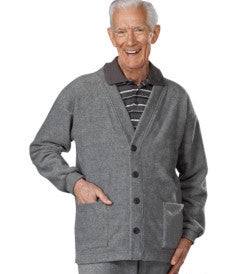Adaptive Clothing For Men - Adaptive Fleece Cardigan With 2 Pockets - Snap Back