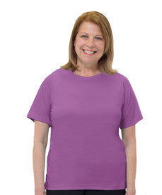 Adaptive T Shirt Solid Color For Women - Home Care Apparel - Back Snap Adaptive Tops