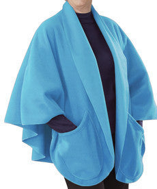 Womens Cozy Pocket Cape Fleece Shawl - Warm Poncho Bed Shawl With Pockets Or Wheelchair Poncho