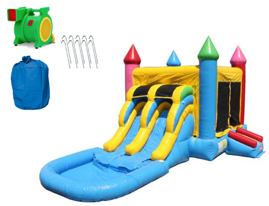 2 Lane Rainbow Castle Combo with Pool includes blower