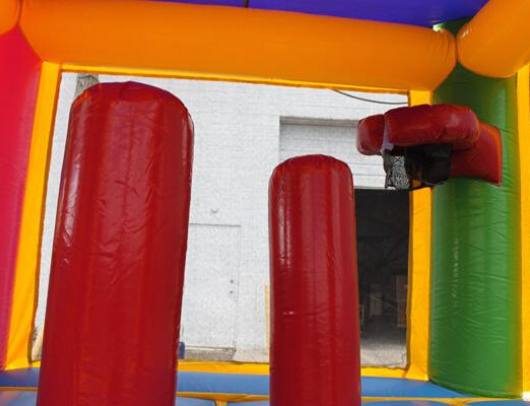 Dual Lane Rainbow Bounce House Combo with Pool