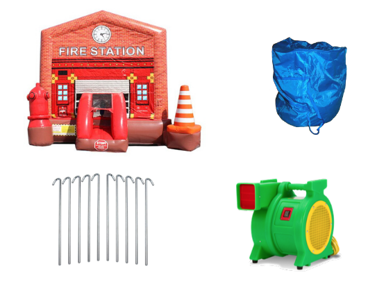 14' Commercial Bounce House Fire Station with Blower