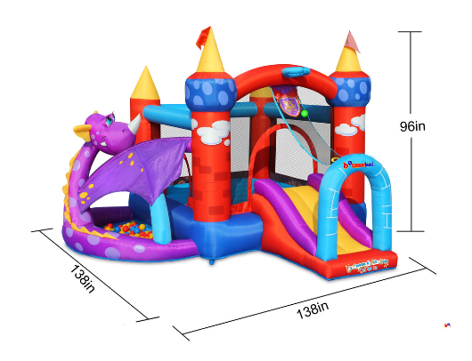 Bounceland Dragon Castle Bounce House with Ball Pit dimensions