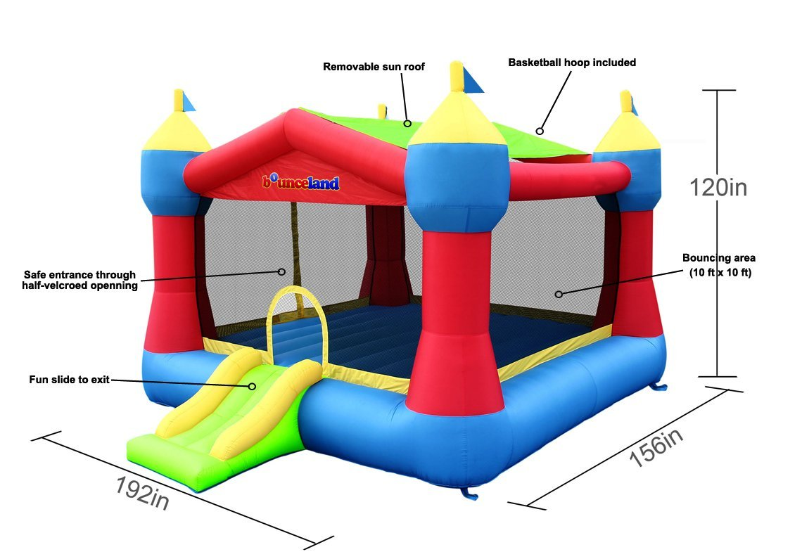 bounceland party castle size and dimensions
