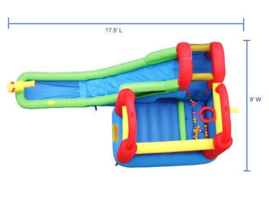 Bounceland Playstation Wet/Dry Combo ariel view with dimensions