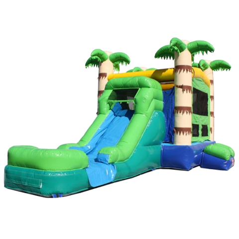 Palm-Tree-Green-Commercial-Bounce-House-Slide-Combo