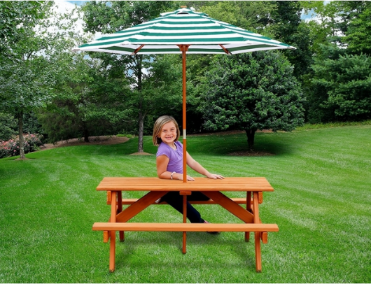 Gorilla Child Picnic Table with Girl sitting