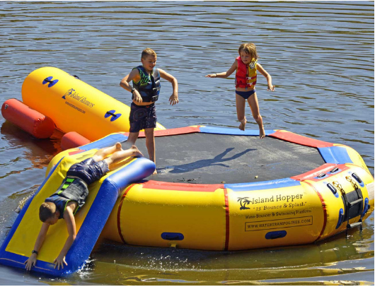 13' Island Hopper Water Bouncer Kids Playing