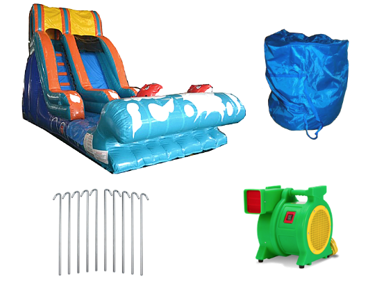 lil kahuna inflatable slide with blower and accessories