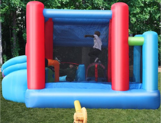 KidWise Celebration Bounce House and Tower Slide rear view