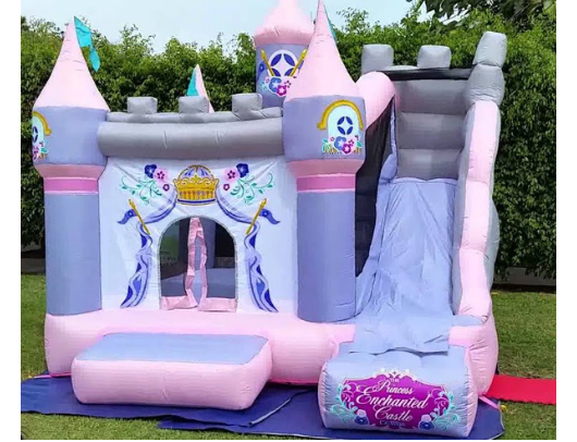 KidWise Princess Enchanted Castle With Slide in yard