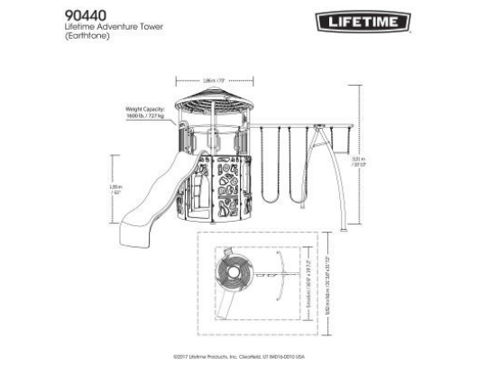 LIFETIME Adventure Tower Metal Playset Dimensions