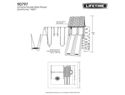 LIFETIME Big Stuff Adventure Metal Swing Set dimensions