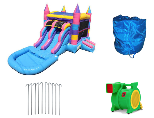 Multi Color Commercial Bounce House Combo with Pool-1