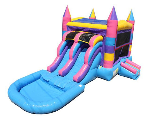 Multi Color Commercial Bounce House Combo with Pool