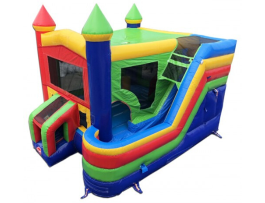 Rainbow Castle 4-in-1 Commercial Bounce House Combo