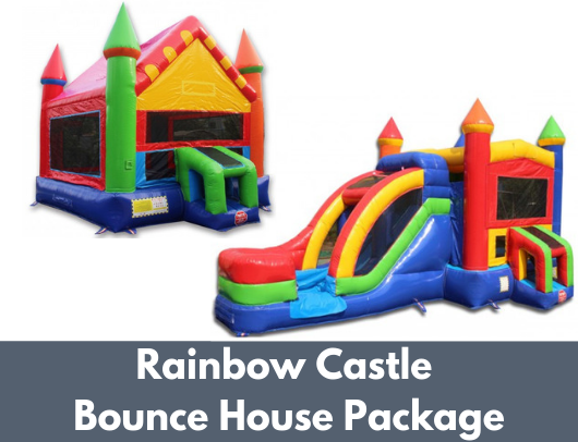 Rainbow Castle Commercial Bounce House Package (C-223 and B-354) banner image