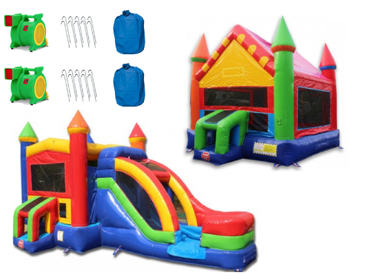 Rainbow Castle Commercial Bounce House Package (C-223 and B-354) product images