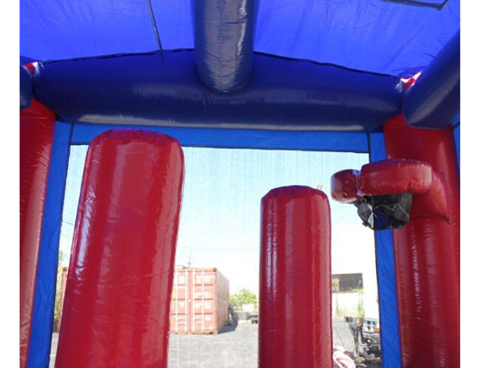 Red n Blue 2 Lane Commercial Combo Bounce House with pool