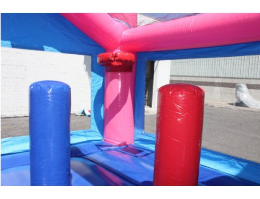 W-353 Pink Bounce House 14x14 pop ups and bball hoop
