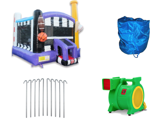 accessories included when you buy the all sports commercial bounce house