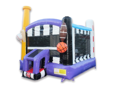 commercial bounce house with sport theme