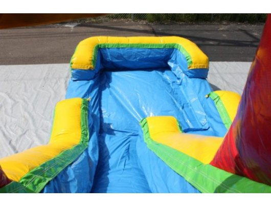 balloon combo bouncer has large inflatable slide with splash pool