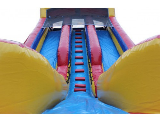 view of the large inflatable water slide
