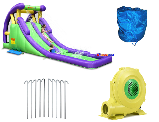 bounceland double inflatable water slide with splash pool