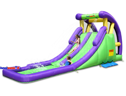 bounceland double water slide with splash pool