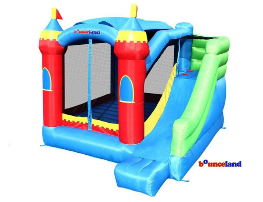 bounceland royal palace bounce house has large slide and removable sunroof