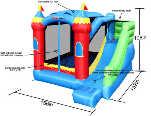 bounceland royal palace specs and safety features