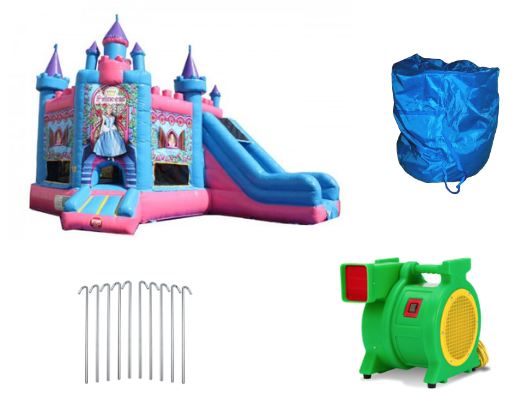 princess castle bounce house with slide includes blower and accessories