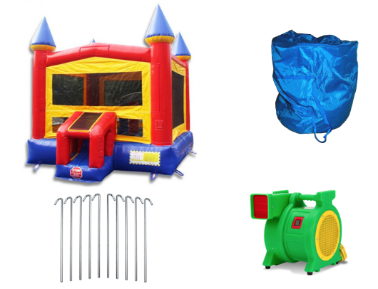 castle commercial grade bounce house with blower and accessories
