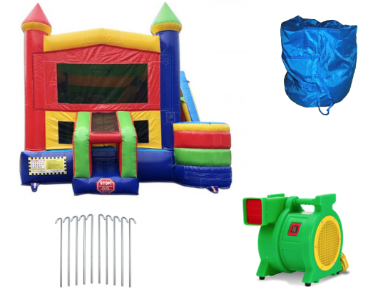 commercial bounce house 4 in 1 combo with slide includes blower and stakes